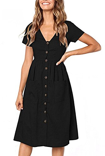 Femmes Robes À Manches Courtes Bouton V Cou Robe Soleil Du Midi Décontracté Avec Des Poches Noires