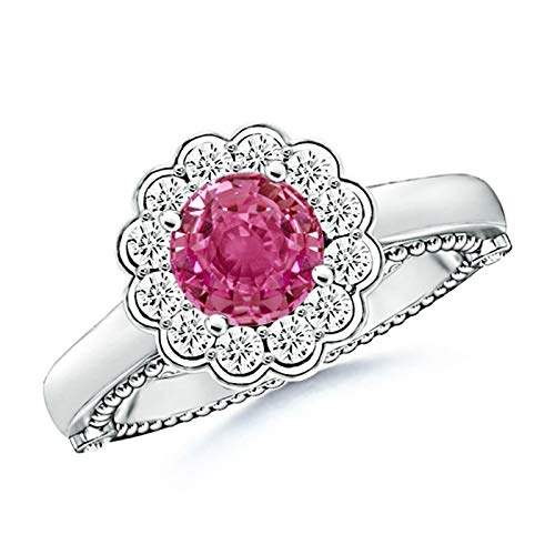Vintage Inspired Pink Sapphire and Diamond Floral Ring in 14K White Gold (6.5mm Pink - Inspired Sapphire Ring Floral
