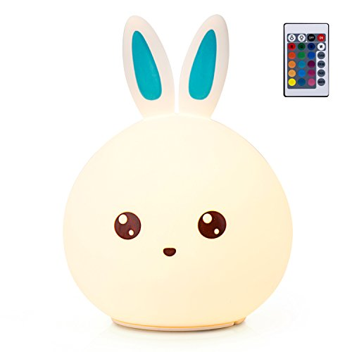 GoLine Remote & Tap Control LED Bunny Night Light, Cute Rabbit Multicolor Kids Baby Nursery Lamp, 5 Light Modes, Static/Breathing/Flashing, Brightness Adjustment, 20-hour Portable Use.(NL012-BE) by GoLine