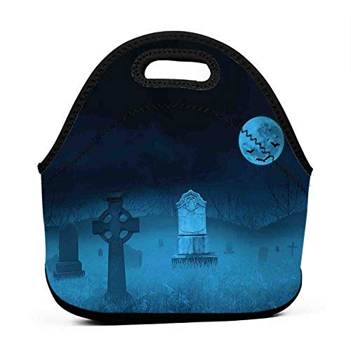 Rugged Lunchbox Gothic,Ghostly Graveyard Illustration Horror Halloween Dead Danger Theme Full Moon Bat Mystery,Blue,custom name lunch bag for kids]()
