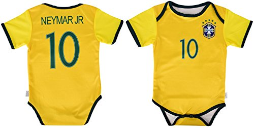 World Cup Baby Neymar Jr #10 Brazil Soccer Jersey Baby Infant and Toddler Onesie Romper Premium Quality (0-3, Romper) Brazil Soccer World Cup