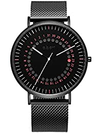 FD41 Mens Analog Red Dotted Black Dial New Design Calendar Men Watches (Black)