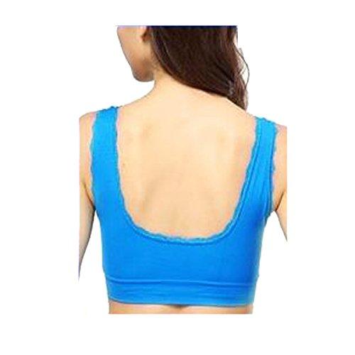 3 De La Mujer Paquete Seamless Sujetador De Los Deportes De Alto Impacto Empuja Hacia Arriba Yoga Para La Aptitud Del Ejercicio BlueB