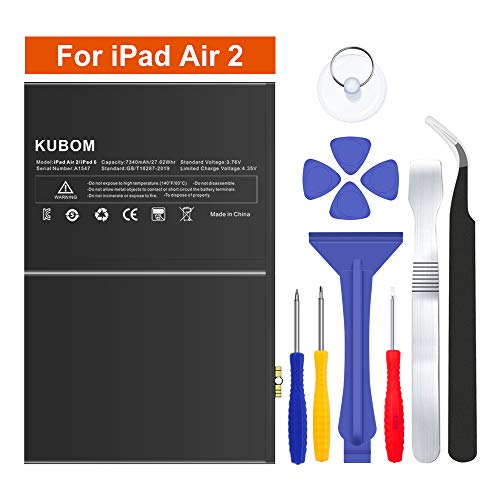KUBOM Replacement Battery for iPad Air 2 or iPad 6, Full 7340mAh 0 Cycle Battery - Include Complete Repair Tool Kits [ 18-Month - Battery 2 Pack Kit