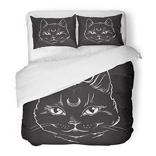Emvency Decor Duvet Cover Set King Size Cute Black Cat with Moon on His Forehead Line and Dot Work Wiccan Familiar Spirit 3 Piece Brushed Microfiber Fabric Print Bedding Set Cover]()