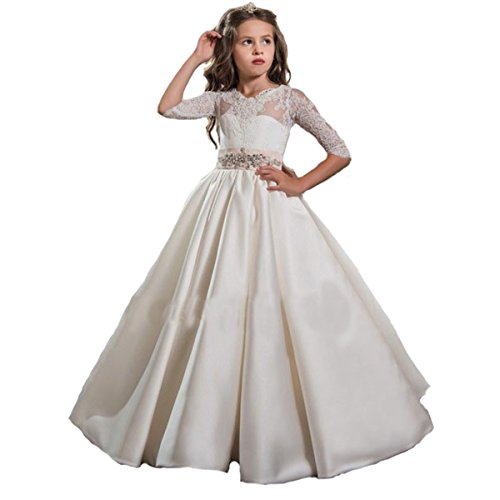 Fair Lady Elegant Long Sleeves Girls First Communion Dress Flower Girl Dresses Wedding 2017 (First Communion Dresses 2017)