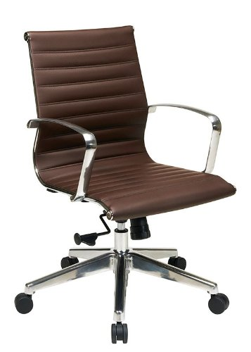 - Office Star Mid Back Eco Leather Seat and Back, Locking Tilt Control and Polished Aluminum Arms and Base Executive Chair, Chocolate