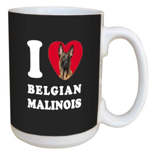 Tree Free Greetings LM45008 I Heart Belgian Malinois Ceramic Mug with Full-Sized Handle, 15-Ounce (Malinois Belgian Mug)