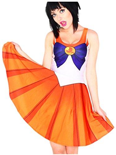 [Ninimour- Halloween Digital Print Sailor Moon Classic Skater Dress Clubwear] (Chibi Moon Costume)