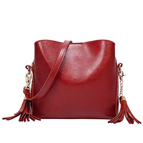 (♛Shiretel Bag IAMUP Women's Handbag Solid Color Tassel Shoulder Bag Leather Diagonal Bag Small Square Bag)