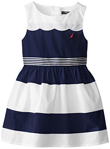 Nautica Little Girls' Color Block Poplin Dress, El Navy, 3T