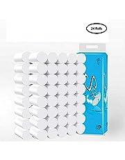 Toilet Paper Roll 4-Ply Soft Ultra Bulk Roll White Kitchen Bath Tissue Rapid Dissolving Bathroom Tissue Paper (24 Rolls Solid type)