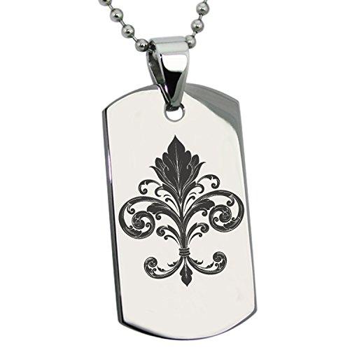 Tioneer Stainless Steel Ornate Fleur De Lis Symbol Engraved Dog Tag Pendant Necklace ()