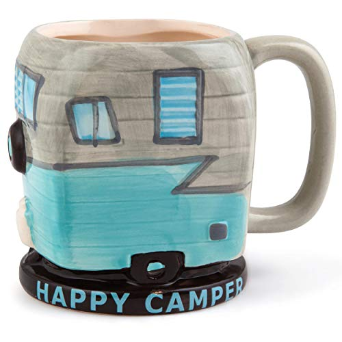 BigMouth Inc Happy Camper Coffee Mug - 16 oz Ceramic Camping Trailer Shaped Coffee Cup, Funny Mug is Perfect for Home, Camper, and Office, Makes a Great Gift