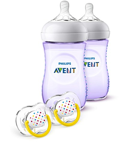 Philips Avent Natural Baby Bottle Purple Gift Set, SCD113/23 ()