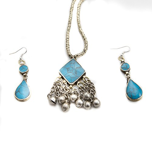Duel on Jewel Tribal Afghani Tribal Jewelry Set Dangle Earring with Square Pendant Soft Bells (Exotica Pendant)