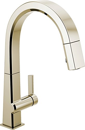 Delta Faucet Pivotal Single-Handle Kitchen Sink Faucet with Pull Down Sprayer and Magnetic Docking Spray Head, Polished Nickel 9193-PN-DST