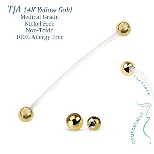 #1 Pregnancy Maternity Flexible PTFE Belly Button Ring Bar Retainer with set (2) of 14K Solid Yellow Gold Balls (16G / 3mm Balls) by The Jewelry Archivist (Image #1)