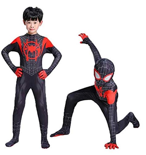 Spandex Costumes For Kids (Wandado Lycra Spandex Halloween New into The Spider Verse Miles Morales Cosplay Costumes Adult/Kids (Kids-M(Height 120-130cm),)