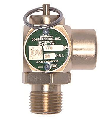 "Apollo Valve 10-512 Series Brass Safety Relief Valve, ASME Steam, 25 psi Set Pressure, 1/2"" NPT Male x Female by Conbraco"