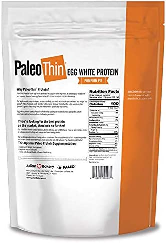 Julian Bakery Paleo Thin Protein Powder Pumpkin Pie 21g Egg White Protein 4 Net Carbs 1.86 LBS 30 Servings