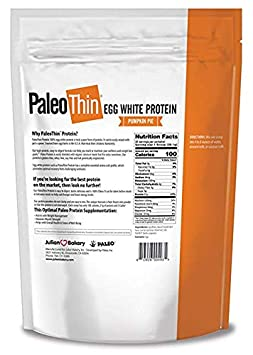 Paleo Thin Protein Powder Pumpkin Pie 30 Servings 4 Carbs 0g Sugar Monk Fruit Sweetened Egg White 1.86 lbs