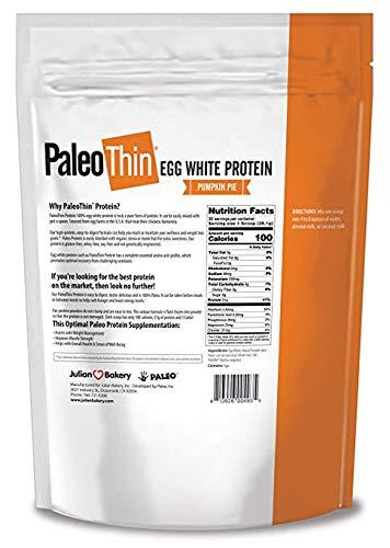 Paleo Thin Protein Powder Pumpkin Pie 30 Servings 4 Carbs 0g Sugar Monk Fruit Sweetened Egg White 1.86 lbs
