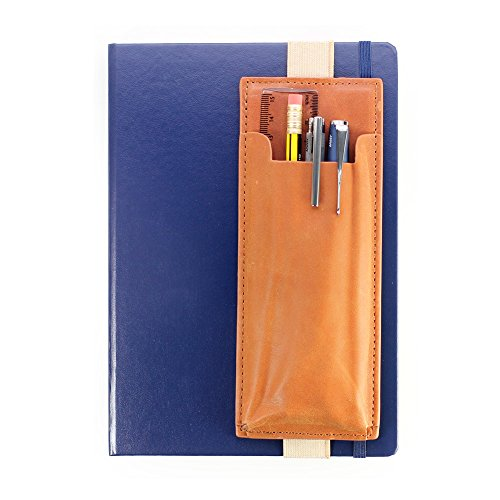 Leather Pen Quiver Pencil Pouch Holder to fit A5 Medium Notebooks or Bullet Journal - Case Sleeve for Multiple Pens, Brown/Tan