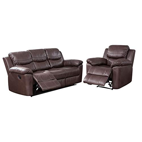 Brown Leather Motion Home Theater - HomeMiYN Sectional Home Theater Loveseat Seating Sofa Chair PU Leather Manual Recliner Motion for Home Furniture Wood Frame