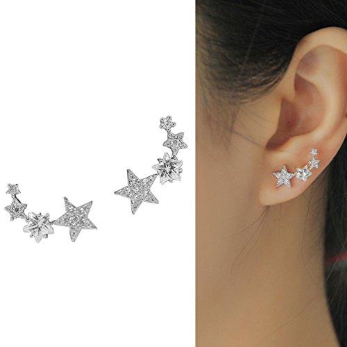 CIShop Star Zircon Diamond Stud Earrings Ear Wire Ear Cuff (Cuff White Gold Earrings)
