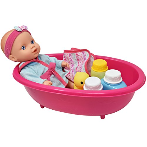 Shower Accessory Set Kid Pretend Play Toy BR 5x Baby Doll in Bath Tub with Duck