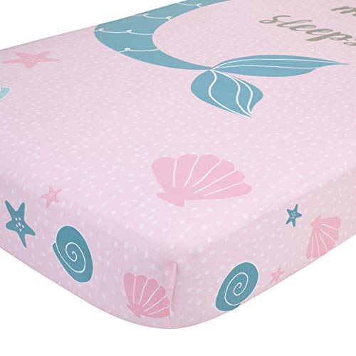 NoJo Sugar Reef Mermaid Photo Op 100% Cotton Fitted Crib Sheet, A Little Mermaid Sleeps Here, Aqua/Pink