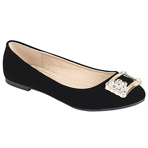 Snj Women Comfort Slip On Round Toe Con Ballerina Scintillante Balletto Nbpu Nero Piatto