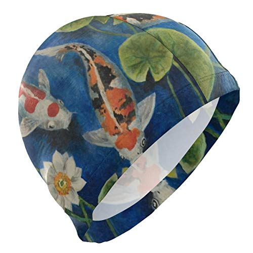 (Loveful Personalized Colorful Koi Fish Pond Water Lily Swim Cap Waterproof Bathing Swimming Cap Solid Swim Hat for Men Women Adults Youths, 3D Ergonomic Design)