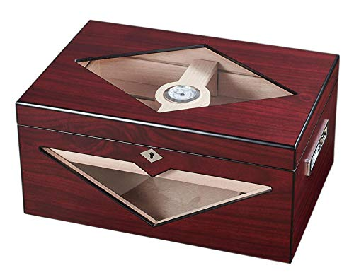 $204.99 antique humidor Visol Hudson Red Antique Wood Stain Humidor with Free Laser Engraved Metal Plate (Text) 2019