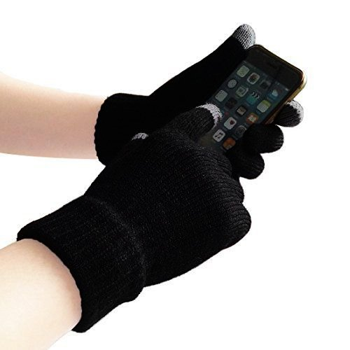 Unisex Touchscreen Warm Outdoor Winter Gloves ( Pack of 3 Black , One Size Fits All , Touch Screen and texting , Knit Magic Stretch Mittens for Men , Women and Children ) by Go Beyond (TM) (Image #4)