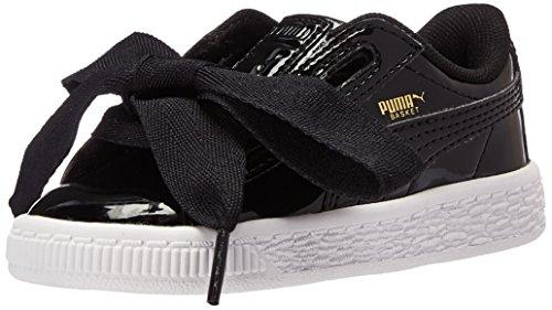 (PUMA Girls' Basket Heart Patent Sneaker, Black, 7 M US Toddler)