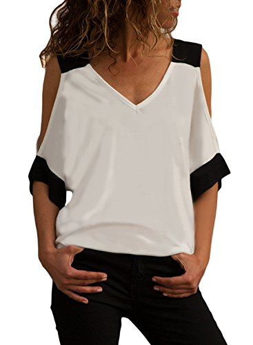Women's Summer Short 3/4 Sleeve Sexy V Neck Open Cold Shoulder T-Shirt Tops Loose Casual Blouse Shirts White Plus Size XL 16 ()