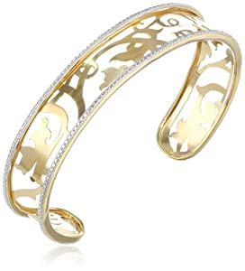 "18k Yellow Gold Plated Sterling Silver Two-Tone Filigree Cuff Bracelet, 7.25"" from PAJ, Inc"