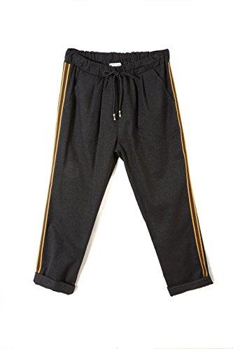 Pantalone da Donna in Lurex con Tasche e Bande Laterali ed Elastico in Vita - Colore Nero - TG S/XL - Abbigliamento Made in Italy
