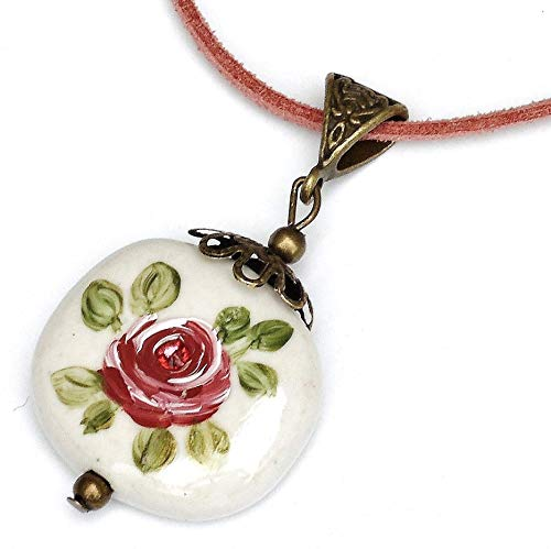 Painted Pink Rose Porcelain Pendant Necklace with Swarovski Crystal Rhinestone Victorian Jewelry for Women
