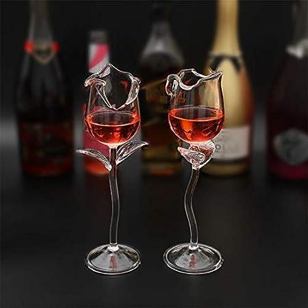 LZZDZK Copa de Vino de Lujo de Lujo de Copa de Vino de 100 ml Copa de Vino de la Forma de la Flor de Rosa