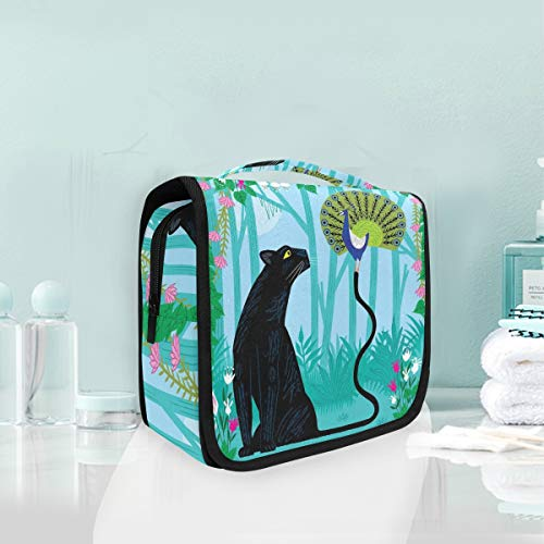 Makeup Cosmetic Bag Jungle Animal Panther Fun With Peacock Portable Storage Travel Toiletry Bag