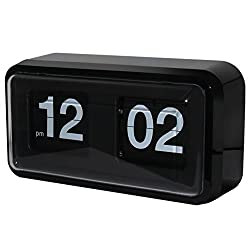 KABB Modern Minimalist Mechanical Retro Flip Down Desk & Wall Clock with Internal Gear Operated ( Black-Plus)