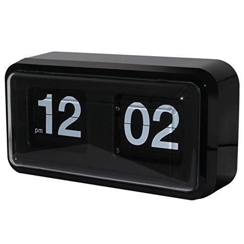 KABB Modern Minimalist Mechanical Retro Flip Down Desk & Wall Clock with Internal Gear Operated ( Black-Plus) (Table Flip Clock)