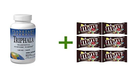 Planetary Herbals Triphala Internal Cleanser 1,000 mg Tabs, 180 ct(2 PACK),M&M MILK CHOCOLATE 6/1.69oz (Triphala Internal Cleanser)