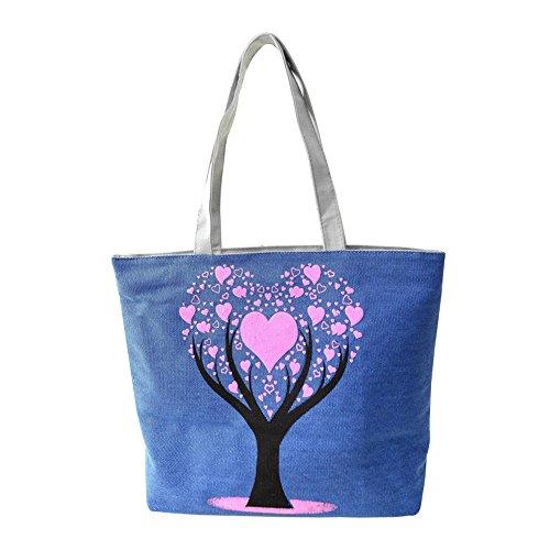 de Cartable Epaule Shopping Bleu Sacs Toile Hrph pour Arbre à Sac Femmes Filles Sacs Portés d'Ecole Main en d'Amour Sac Mignon Mode qRRzwOHd4x