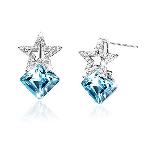 Sllaiss Sterling Silver Blue Swarovski Crystal Earrings Stud Star Earrings Square Pentagon Earrings for Women ()