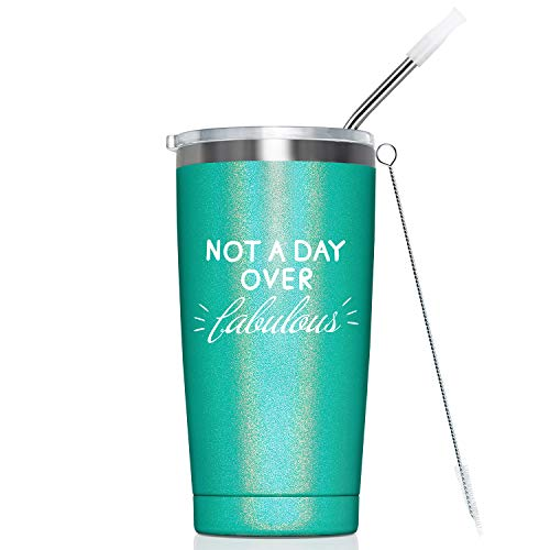 Not A Day Over Fabulous I Birthday Gifts for Women - Vacuum Insulated Stainless Steel Tumbler Cup with Straw - Womens Gift Ideas for Sister, Mom, Grandma, Friend, Coworker, Aunt, 20-Ounce Green