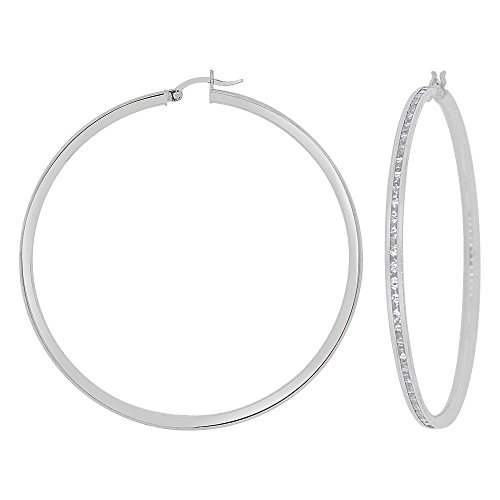 14k Gold White Rhodium, Round 3mm Channel Set Created CZ Earring 50mm Inner Diameter by GiveMeGold